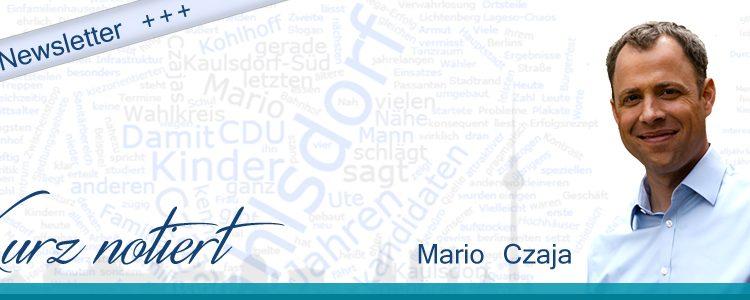 """Neuer Newsletter """"Kurz notiert"""" von Mario Czaja, MdA"""